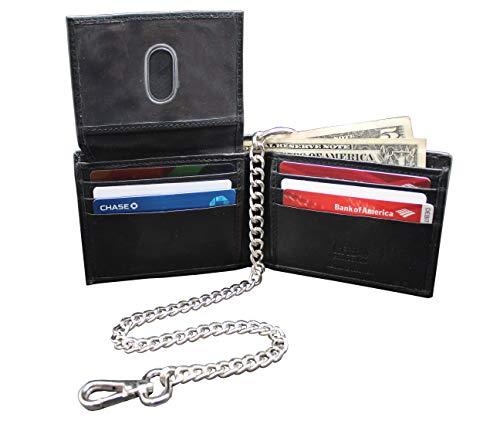 Bikers RFID Slim Soft Leather Black Bi-fold Chain Wallet Thumb ID JTC-521-BFRF