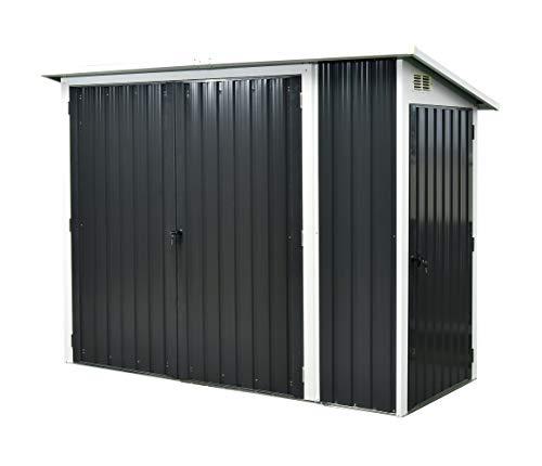 Garden and Outdoor Hanover HANMLTPATSHD-Gry 2-in-1 Galvanized Steel Multi-Use Shed in Dark Grey with Front Double Side Single-Door Storage outdoor storage sheds