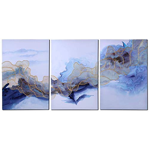 YOHONEY Modern Chinese Style Hand Painted Abstract Canvas Oil Paintings on Canvas Modern Eloise Artwork Wall Art Ready to Hang in Living Room Home Office Décor (24x36Inchx3, - Painting Chinese Abstract