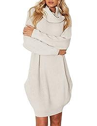 BerryGo Women's Loose Turtleneck Knit Long Pullover Sweater Dress