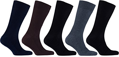 Socks n Socks-Men's 5-pair Luxury Cotton Striped Classic Dress Socks Mens Multi Colored Dress