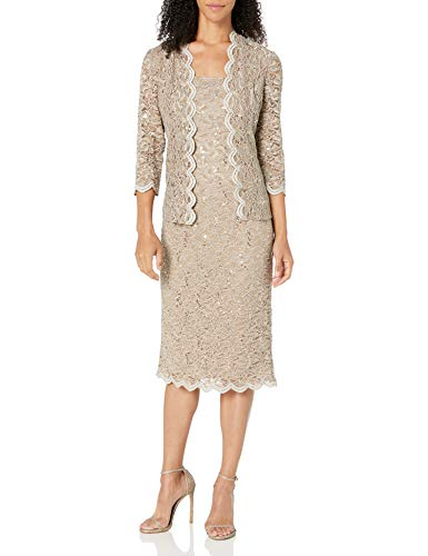 Alex Evenings Women's 10 Tea Length Dress and Jacket (Petite and Regular Sizes), Champagne