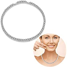 Mytys Silver Finish Cubic Zirconia Solitaire Tennis Choker CZ Tennis Necklace for Bride with Gift Box,16 +1.6 inches