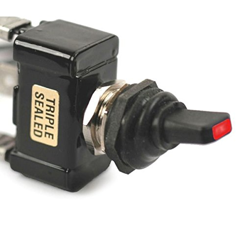 Red Led Tip Off / On 30 Amp Sand Sealed Toggle Switch With Tab Terminals