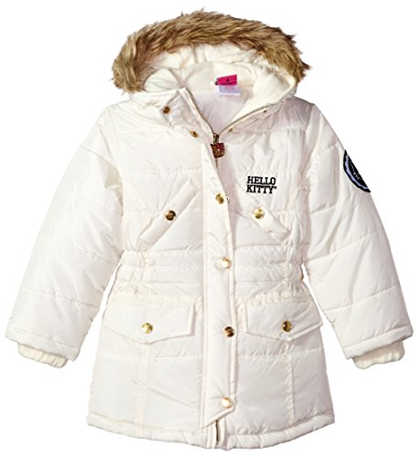 (Hello Kitty Baby Quilted Long Puffer With Faux Fur Trim Hood, cream, 24M)