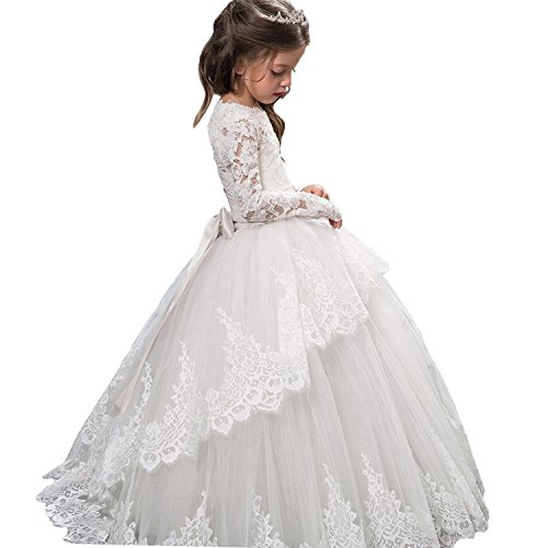 Vintage Princess Floral Lace 2017 Long Sleeves Flower Girls Dresses (Size 12, (Beautiful First Communion Dresses)