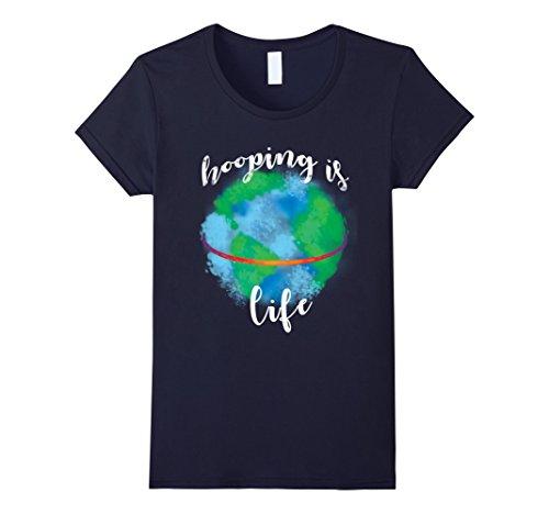 Women's Hula Hoop Earth T-shirt Hooping Is Life Small Navy