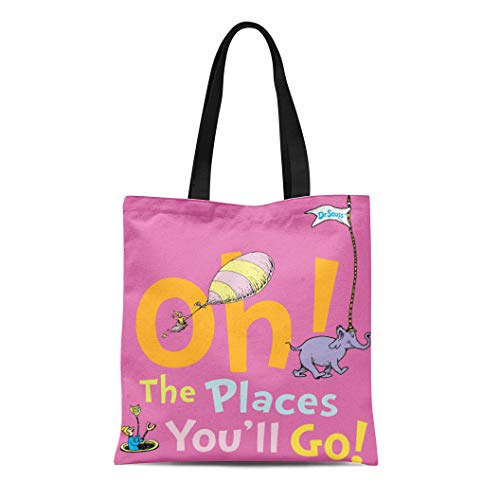 (Semtomn Cotton Line Canvas Tote Bag Youll Dr Seuss Oh the Places You Ll Graduation Reusable Handbag Shoulder Grocery Shopping)