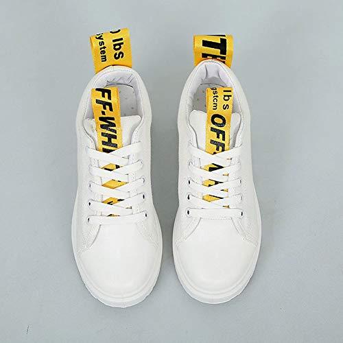 ZHZNVX Zapatos de Mujer Canvas/PU (Poliuretano) Spring & Summer Comfort Sneakers Flat Heel Round Toe Negro/Amarillo / Verde/Slogan White