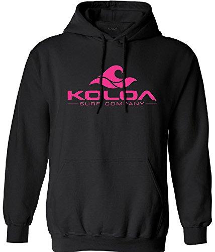 Koloa Surf Classic Wave Logo Surf Hoodie, Hooded Sweatshirt-M-Black/Pink