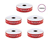 EPS Fragile - Handle With Care Shipping Stickers, 1''x3'', 1000 Per Roll (5 Rolls)