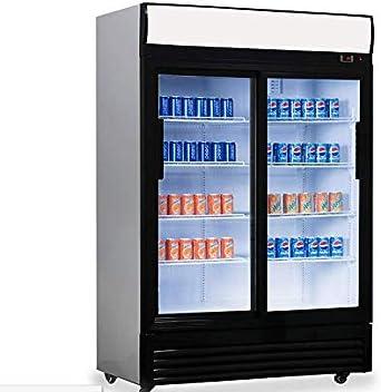 Frigorífico para botellas, 900 litros, frigorífico de convección, enfriamiento de bebidas, frigorífico industrial, 1,29 x 0,76 m, con 2 puertas correderas de cristal