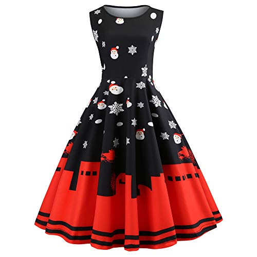 Womens Christmas Printed Dress AmyDong Vintage Santa Sleeveless Dress Xmas Dress Party Prom Swing Dress (Black,L) -