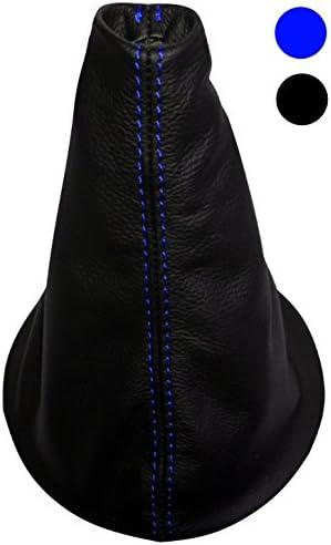 Soufflet de levier de vitesse en simili cuir avec couture//surpiq/ûres couleurs variables noir avec surpiq/ûres bleues AERZETIX