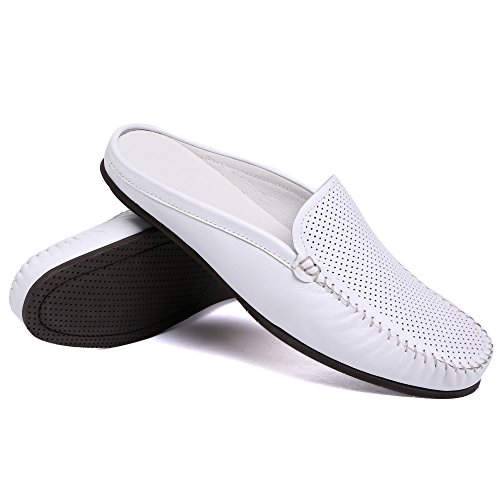 Santimon Heren Muiltjes Klomp Slippers Ademend Ponsen Lederen Instappers Casual Loafers Wit