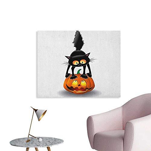 Anzhutwelve Halloween Art Decor Decals Stickers Black Cat on Pumpkin Drawing Spooky Cartoon Characters Halloween Humor Art Poster Print Orange Black W32 xL24