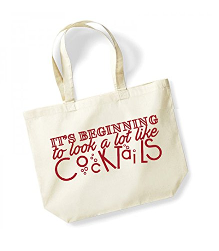 Its Beginning To Look a Lot like Cocktails - Large Canvas Fun Slogan Tote Bag Natural/Red