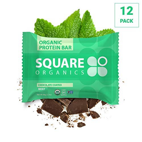 Square Organics Organic Chocolate Coated Protein Bar, Mint (12 Count) 1.7 Oz. , Gluten-Free Soy-Free Dairy-free Vegan High Protein ()