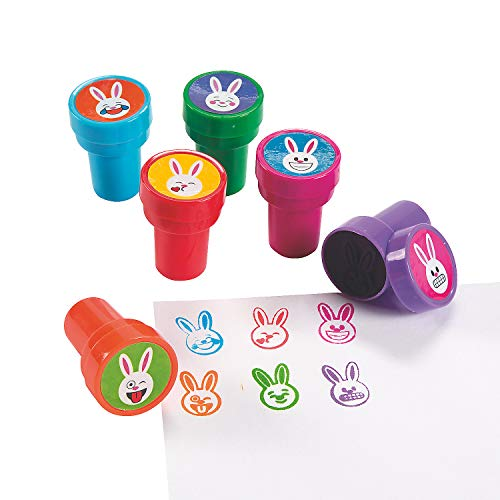 Fun Express - Emoji Face Bunny Stampers for Easter - Stationery - Stamps - Stamps - Self Inking - Easter - 24 Pieces