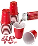 48pc Set ALAZCO Red Cup lil Mini Party Shot Glasses Set (2 Oz. Cups) Fun BBQ Picnic Christmas Holiday Tailgate Super Bowl Party