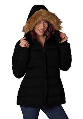 - u2wear Women's Puffer Coat with Faux-Fur Deatchable Hood,Black,Small