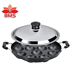 BMS Lifestyle Non-Stick 12 Cavity Appam Patra Side Handle with...