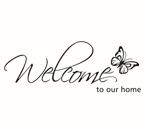 "BIBITIME Flying Black Butterfly Saying Welcome to Our Home Front Door Sign Decal Vinyl Letters Quotes Stickers for Living Room Porch Garden,DIY 27.95"" x 10.23"" from BIBITIME"