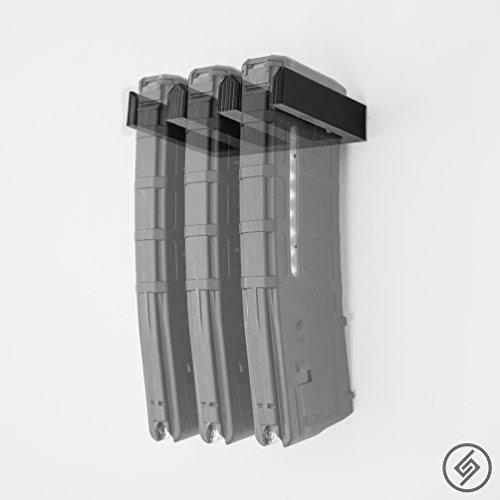 Spartan Mounts 3X Standard PMAG Wall Mount | Magazine Display | Wall Storage Organization System | Unique Low Profile Design | Gun Safe Wall Garage | Gun Room Mounting Solution
