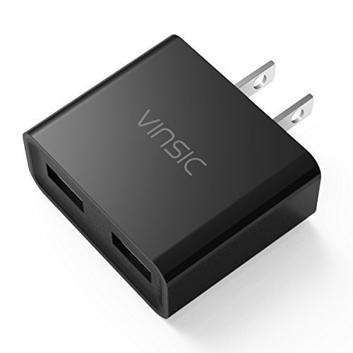 USB Charger, Vinsic 12W Dual-Port USB Travel Charger Adapter, 5V 2.4A for iPhone iPad iPod, Samsung Galaxy, Cell...