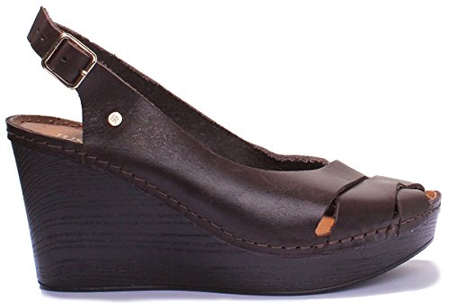 Peep Brown Leather Sandals Matt Toe Wedge Justin 7820 Reece Womens tqXwqzxF
