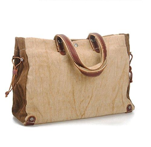 Nasis Women's Large Size Vintage Canvas Shoulder Bag Daypacks Hand Bag AL4048 khaki
