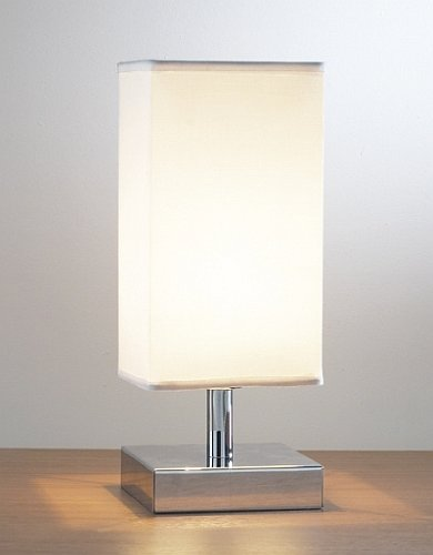 Genial Drayton Polished Chrome Base Touch Table Lamp + Shade
