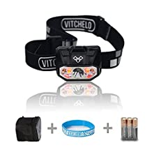 VITCHELO V800 PLUS Headlamp with White & Red Lights LED. Waterproof IPX6 Head Light with Power Meter, Boost & Lock Mode. 168 Lumens Bright. Best Used as Camping, Hiking, Hunting & Running Gear