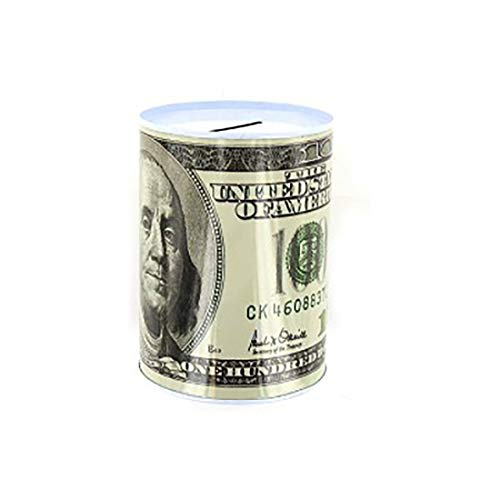 - 100 Dollar Bill Small Metal Tin Money Piggy Bank Money Jar, Replica of Benjamin Franklin Coin Bank $100 Bill Coin Saving Currency Toy pretend Play kids Unisex Boys Girls Novelty Toys&Games-3 yrs & Up