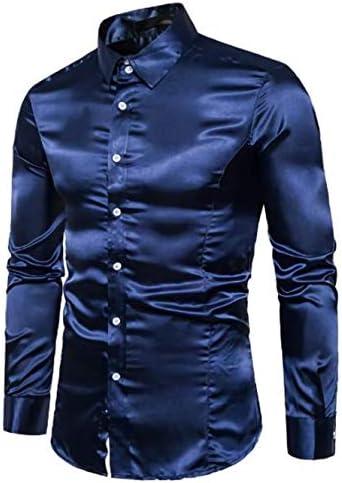 (ナガポ) NAGAPO 光沢 ワイシャツ 長袖 ステージ衣装 社交 ダンス ドレスシャツ メンズ 無地 メタリック