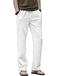 Men Casual Beach Trousers Linen Jean Jacket Summer Pants