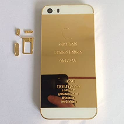 wholesale dealer ad592 60565 New for iPhone 5S 24K 24Kt 24Ct Limited Eidtion Mirror Shiny Gold with  White/Black/Gold Glass Alloy Metal Back Cover Housing Middle Frame Bezel  Plated ...