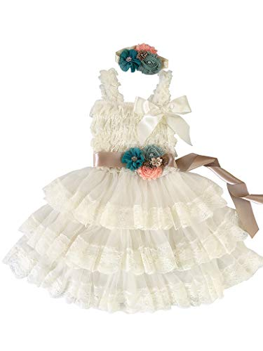 Rosy Kids Girl's Vintage Chic Flower Girl Lace Dress Flower Sash Hair Flower, Ivory Dress Champagne Sash Teal Blue Pink Flower, M
