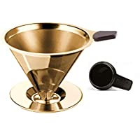 GoldTone Brand Paperless Pour Over Coffee Filter - Reusable Stainless Steel Pour Over Coffee Filter - Pour Over Coffee Dripper + Silicone Handle & Coffee Scoop (4-7 Cup)