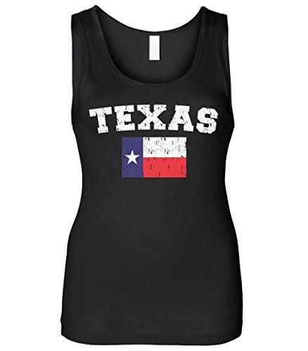 Lone Star Tank - Cybertela Women's Faded Distressed Texas Lone Star Flag Slim Fit Tank Top (Black, Small)