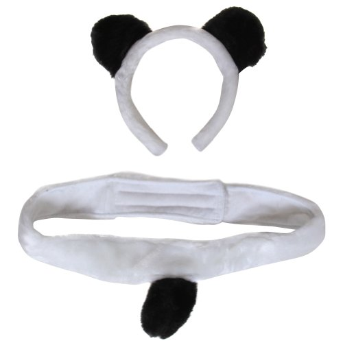Plush Panda Bear Headband Ears and Tail Costume Set
