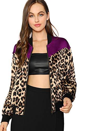 SheIn Women's Long Sleeve Pockets Windbreaker Leopard Outwear Zip Bomber Jacket X-Small Multicolor