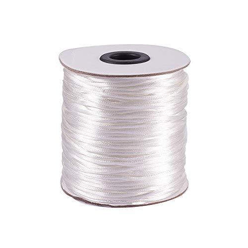 PandaHall Elite 1 Roll 100 Yards 2mm Rattail Satin Nylon Trim Cord Chinese Knot Kumihimo String White