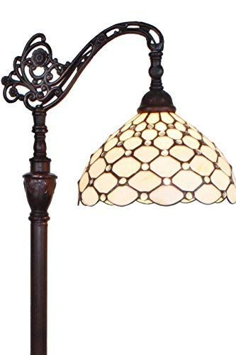 """Amora Lighting Tiffany Style Floor Lamp Jeweled Adjustable White Cream Reading Standing Antique Vintage 62"""" Tall Stained Glass Living Room Bedroom Decor Gift AM028FL12, 12 Inch Diameter"""