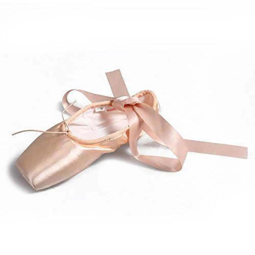 YFF Professional Dance Shoes Women Satin Pointe Shoes Girls Ballet Shoes,Pink,3.5