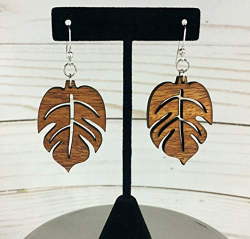 Leaf Mahogany Wood Earrings