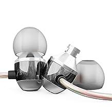 APIE Premium Genuine Wood Corded In-ear Headphones Earbuds Heavy Bass Noise Cancelling Earphones with Microphone (Ebony)