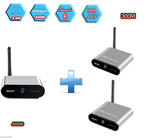 MEASY AV230-2(1X2) 2.4G Wireless AV Audio & Video Sender Transmitter & Receiver System Support Transmission up to 300m/1000 Feet DVD/DVR/IPTV/CCTV Camera/TV