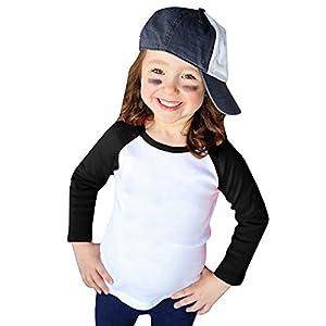 Girls Baseball Raglan Tee Shirt Boy's Raglan T Shirts Unisex Kids Long Sleeve Crewneck Cute Tops