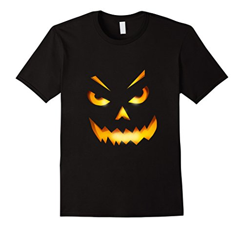 [Mens Giant Jack O' Lantern Face Halloween Pumpkin scarry shirt Medium Black] (Scarry Halloween)
